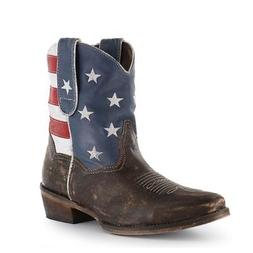 western boots womens ankle usa flag brown