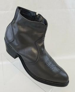 Will Long Western Cowboy Ankle Boots Zip Gray Leather Mens S