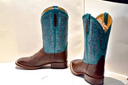 Western cowboy leather boots by CINCH Turquoise Uppers, Squa