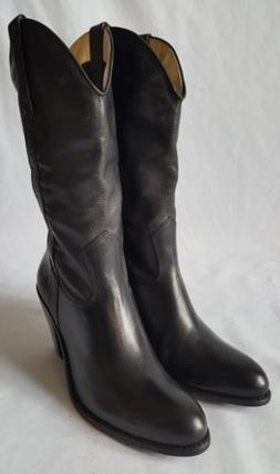 1b936f3cb0d Jessica Simpson Western Soft Black Leather Cowboy Boots Heel