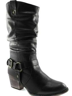 DailyShoes Western Womens Slouch Mid Calf Ankle Strap Buckle