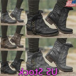 Women Ankle Boots Cowboy Chunky Low Heel Faux Leather Motor