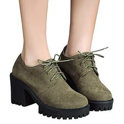 NEARTIME Women Boots Ankle Round Toe Shoes Women Lace-Up Cas
