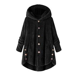 COPPEN Women Coat Button Fluffy Tail Tops Hooded Pullover Lo