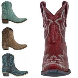 Women Ladies Cowboy Cowgirls Ankle Boots Low Heel Pointed To