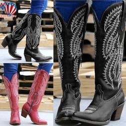 Women Ladies Cowgirl Cowboy Boots Ladies Knee High Block Hee