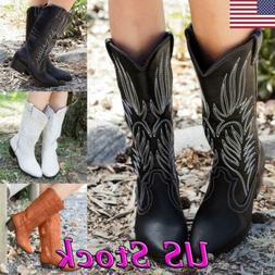 Women Mid Calf Western Boots Cowboy Western Pointed Toe   Kn