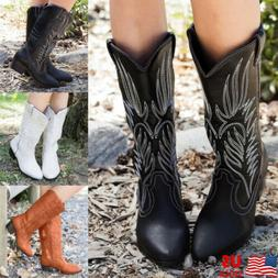 Women Mid Calf Western Cowboy Boots Knee High Boots Chunky H