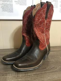 Ariat Women Red Brown Leather Cowgirl Cowboy Boots Size 6B S