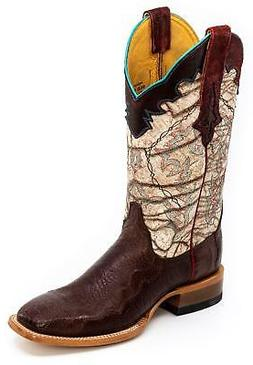 CINCH Women's Chestnut Ostrich Crispy Cream Cowboy Boots