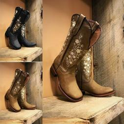 Women's Cowboy Boots Causal Square-toe Faux Leather Vintage