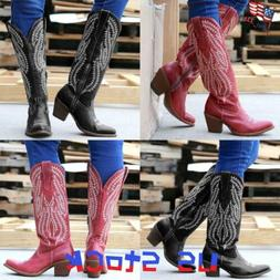 Women's Embroidery Cowboy Cowgirls Boots Knee High Block Hee