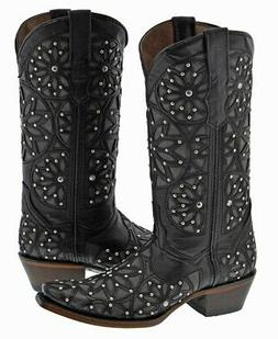 Women's Leather Studded Overlay Cowboy Boots Snip Toe