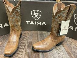 Women's Round Up square toe western boot by Ariat. Tan.