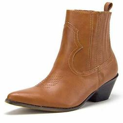 Women's Texas Short Block Heel Western Cowgirl Ankle Bootie