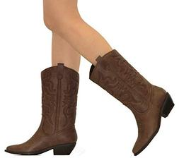 MVE Shoes Women's Western Cowboy Pointed Toe Knee High Pull