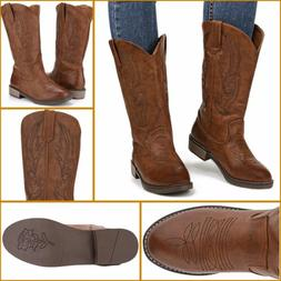 Women's Western Cowboys Boots Mid Calf Round Toe Embroidered