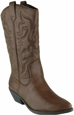Cambridge Select Women'S Western Pointed Toe Mid-Calf Cowboy