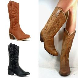 Women Ship SheSole Womens Ladies Mid Calf Cowgirl Cowboy Boo