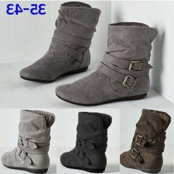 Women Snow Boots Cowboy Plus Size Casual Short Boots Fleece