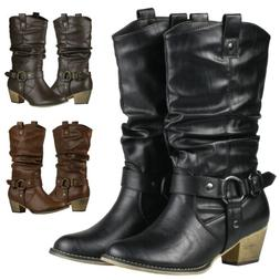 Women Western Style Cowboy Cowgirl Slouch Boots Block Heel S