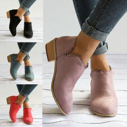 Womens Ankle Low Heel Block Heels Womens Casual Lace Boots L