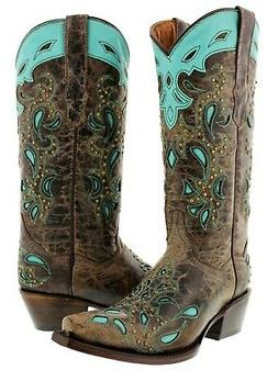Womens Brown Leather Cowboy Boots Turquoise Overlay Paisley