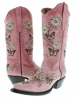 Womens Casual Pink Western Cowboy Cowgirl Leather Boots Butt