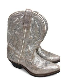 Womens Laredo Cowboy Cowgirl Leather Boots Silver Gold Metal