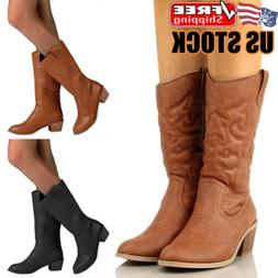 Womens Cowgirl Cowboy Boots Ladies Zip Up Mid Wide Calf Prin