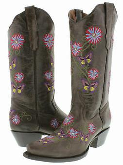 Womens Dark Brown Western Cowboy Leather Boots Casual Butter