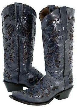 Womens Blue Distressed Leather Cowboy Boots Black Inlay West