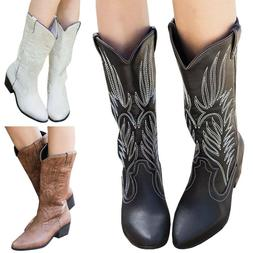 Womens Ladies Cowgirl Cowboy Boots Ladies Mid Wide Calf West