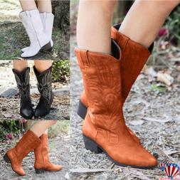 Womens Ladies Cowgirl Cowboy Mid Calf Boots Winter Knee High