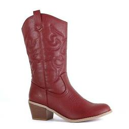 West Blvd - Womens Miami Cowboy Western Boots 9 Burgundy Pu