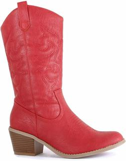 West Blvd - Womens Miami Cowboy Western Boots, Red, 9