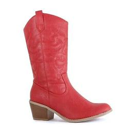 West Blvd - Womens Miami Cowboy Western Boots Red Pu 8.5 M U