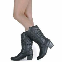 West Blvd Womens miami Leather Almond Toe Mid-Calf Cowboy, W
