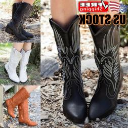 Womens Mid Calf Boots Pointed Toe Block Mid Heels Western Co