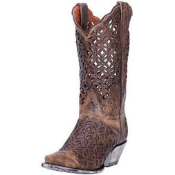 "Dan Post WOMENS PEEK-A-BOO 12"" MEDIUM COWBOY Boots DP3761"