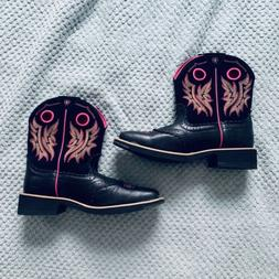 ARIAT WOMENS PINK AND BLACK EMBROIDERED COWBOY BOOTS SIZE 9.