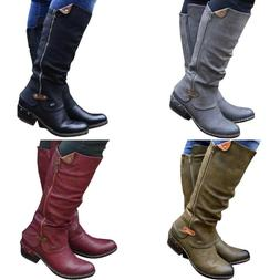 Womens Round Toe Mid Calf Boots Ladies Winter Low Heels Cowb