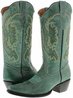 Womens Turquoise Classic Western Style Cowboy Boots Plain Le