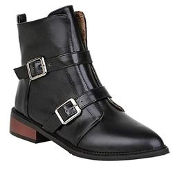 Womens Vintage Leather Bootie Fashion Buckle Low-Heeled Non-