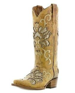 Womens Wedding Cowboy Leather Boots Sand Snip Toe