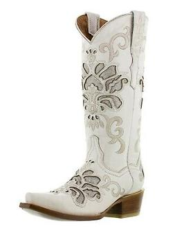 Womens Wedding Cowboy Leather Boots White Snip Toe
