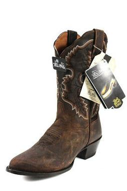 Dan Post Womens Western Cowboy Boots Pull On Low Heel Leathe